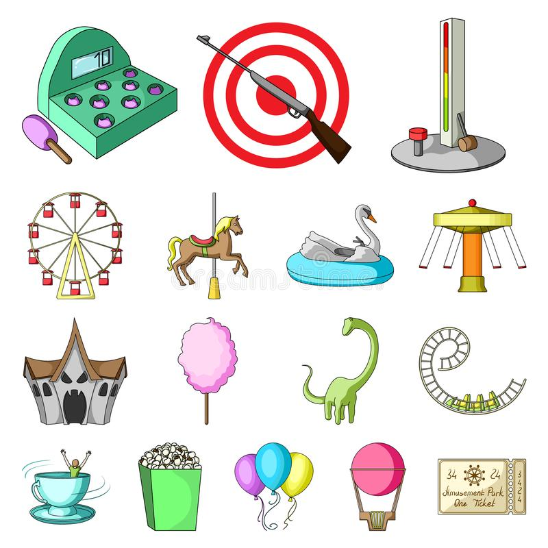 Amusement park cartoon icons in set collection for design. Equipment and attractions vector symbol stock web vector illustration