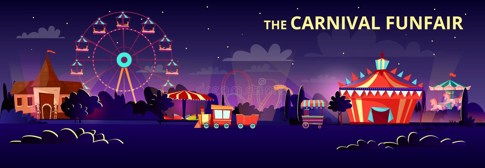 Amusement park cartoon illustration of carnival funfair at night with illumination of rides, carousels and circus tent vector illustration