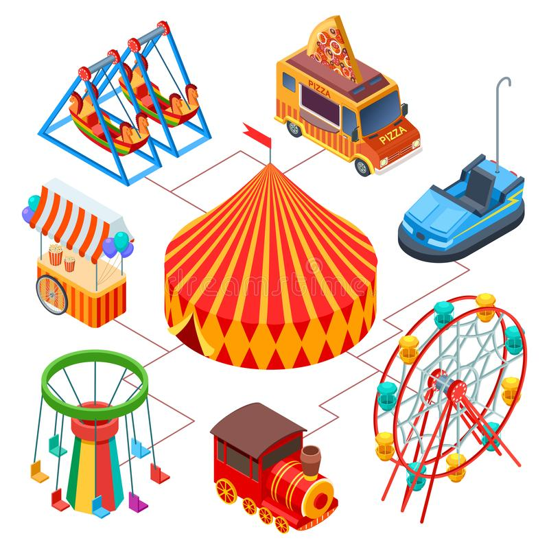 Amusement park and circus isometric vector concept royalty free illustration