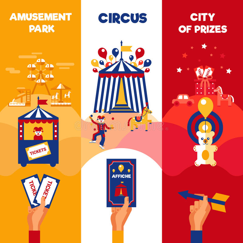 Free Amusement Park Circus Tickets 3 Vertical Banners Royalty Free Stock Photo - 64816365