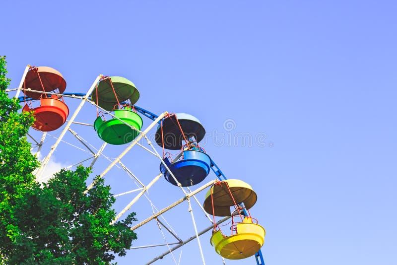 Amusement Park. Colourful ferris wheel. stock photo