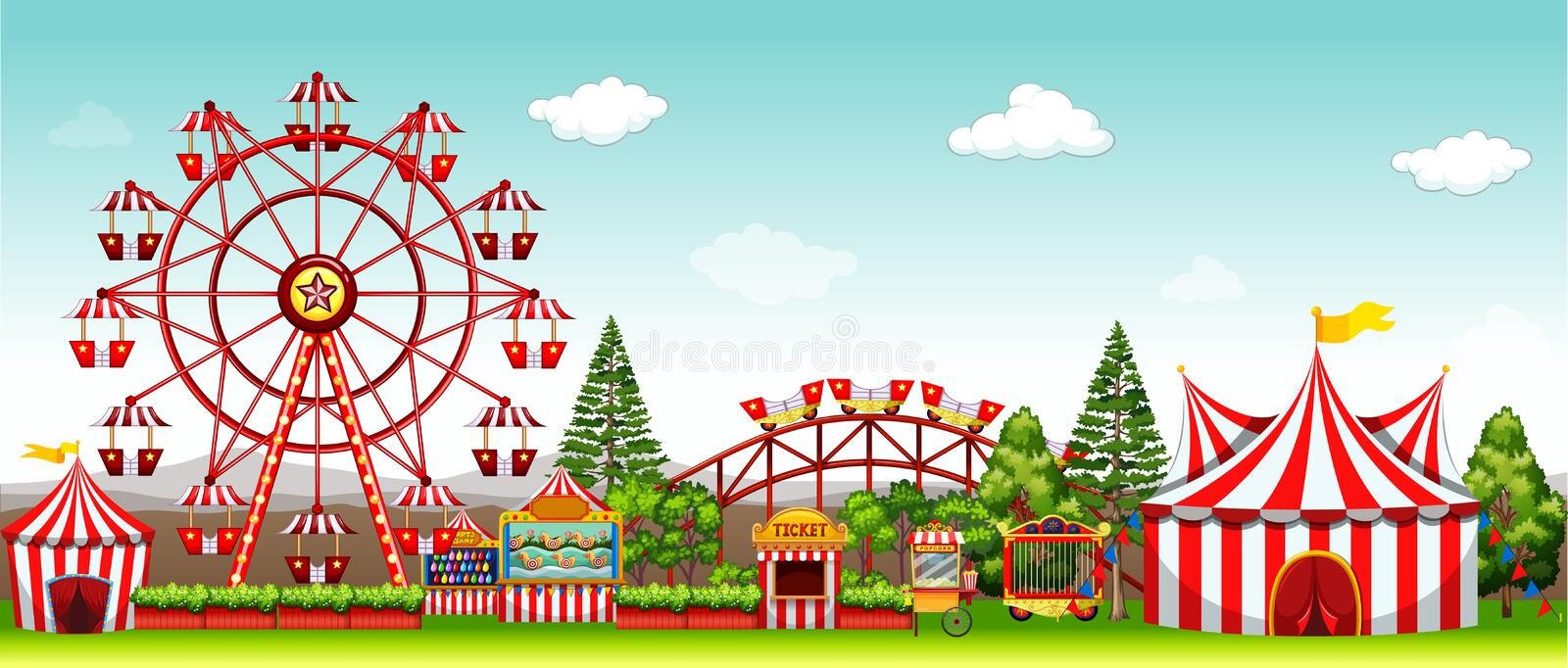 Amusement park at daytime. Illustration stock illustration