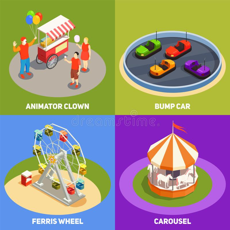 Amusement Park 2x2 Design Concept. Colorful isometric 2x2 design concept with clowns carousel bump cards ferris wheel in amusement park 3d isolated vector vector illustration