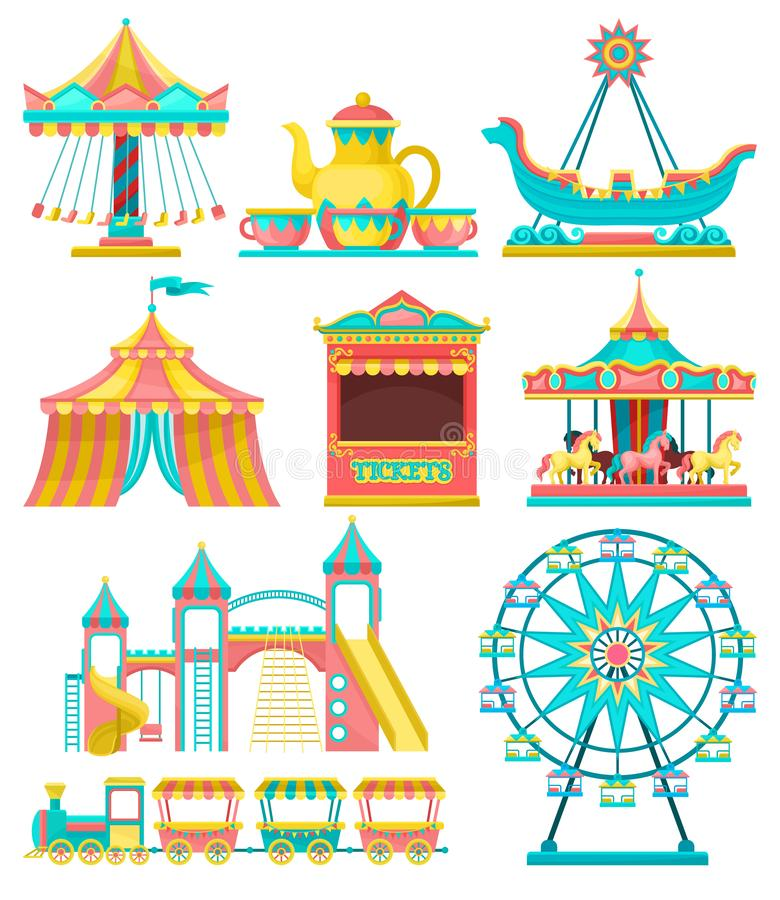 Amusement park design elements set, merry go round, carousel, circus tent, ferris wheel, train, ticket booth vector. Illustration isolated on a white background vector illustration