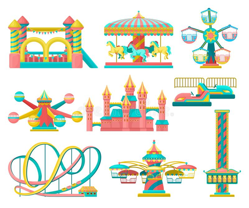 Amusement park design elements set, merry go round, inflatable trampoline, free fall tower, castle, carousel with horses stock illustration