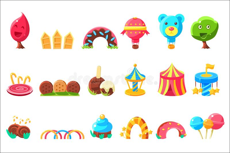 Amusement Park Elements Made Of Sweets Set Of Isolated Bright Color Childish Cartoon Style Illustrations. Amusement Park Elements Made Of Sweets Set Of Isolated royalty free illustration