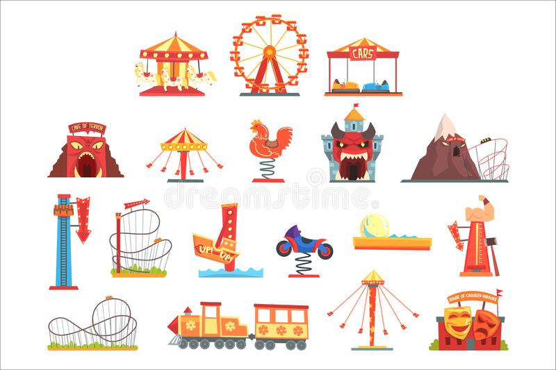 Amusement park elements set, funfair attraction colorful cartoon vector Illustrations. On a white background royalty free illustration