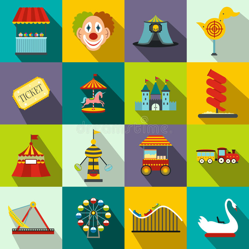 Amusement park flat icons set royalty free illustration