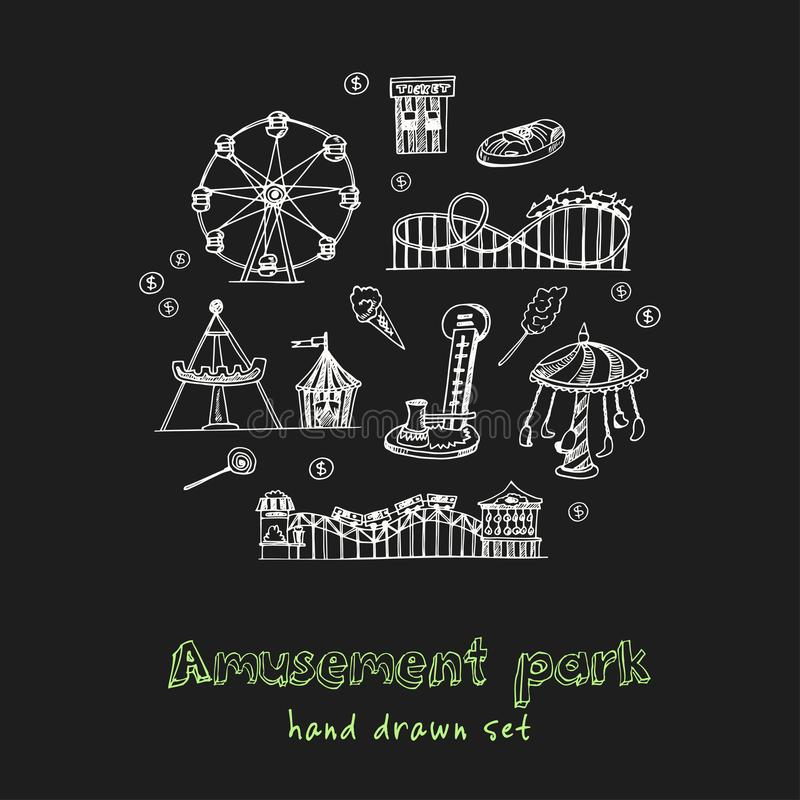 Amusement park hand drawn doodle set. Sketches. Vector illustration for design and packages product. Symbol collection stock illustration