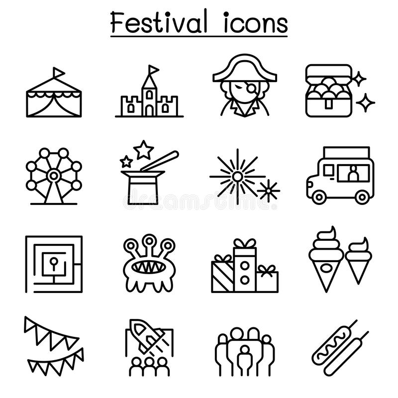 Amusement park icon set in thin line style royalty free illustration