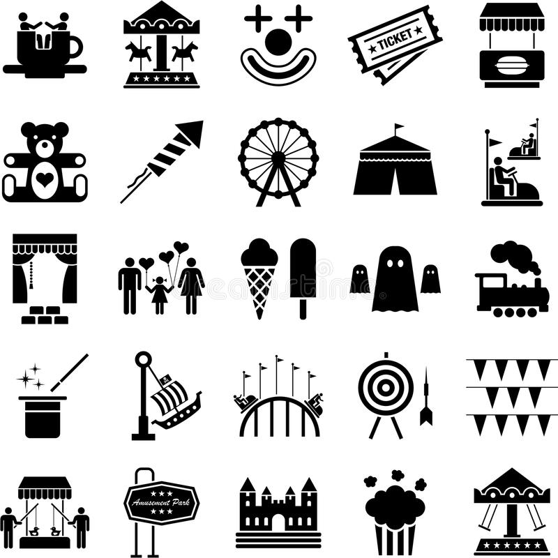 Amusement Park icons. Some icons related with amusement parks royalty free illustration