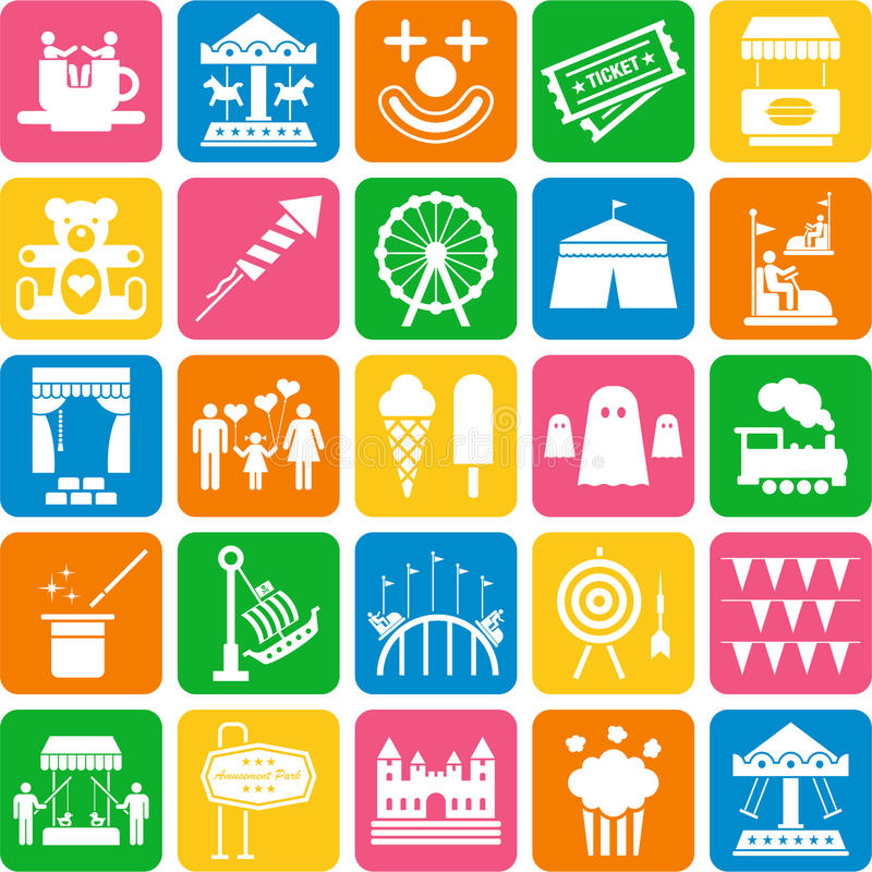 Amusement Park icons. Some icons related with amusement parks vector illustration