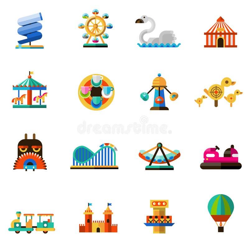Amusement Park Icons stock illustration