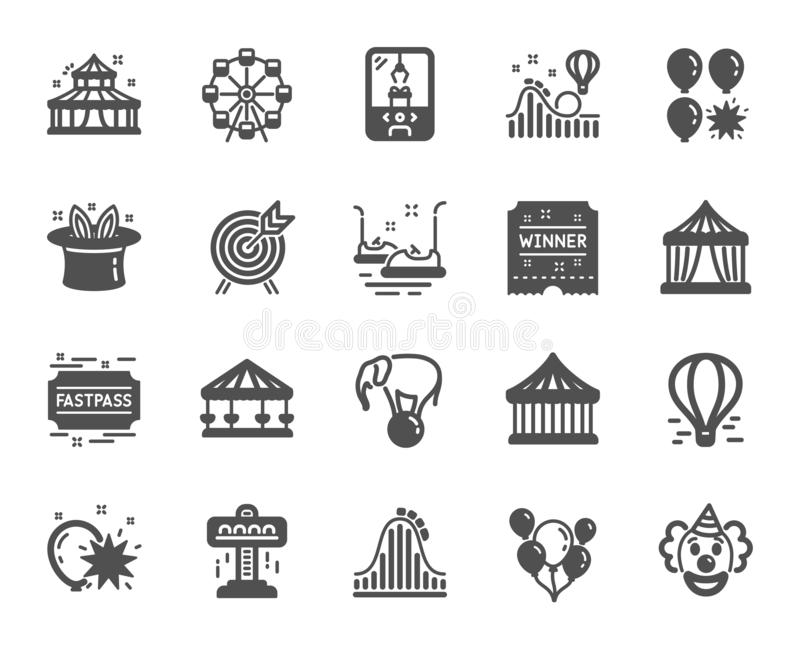 Amusement park icons. Set of Carousels, Roller coaster and Circus. Vector. Amusement park icons. Set of Carousel, Roller coaster and Circus icons. Air balloon vector illustration