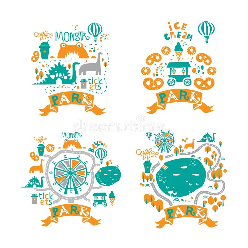 Amusement Park icons set in cartoon style with attractions and walking paths, pond, ice cream, coffee vector illustration