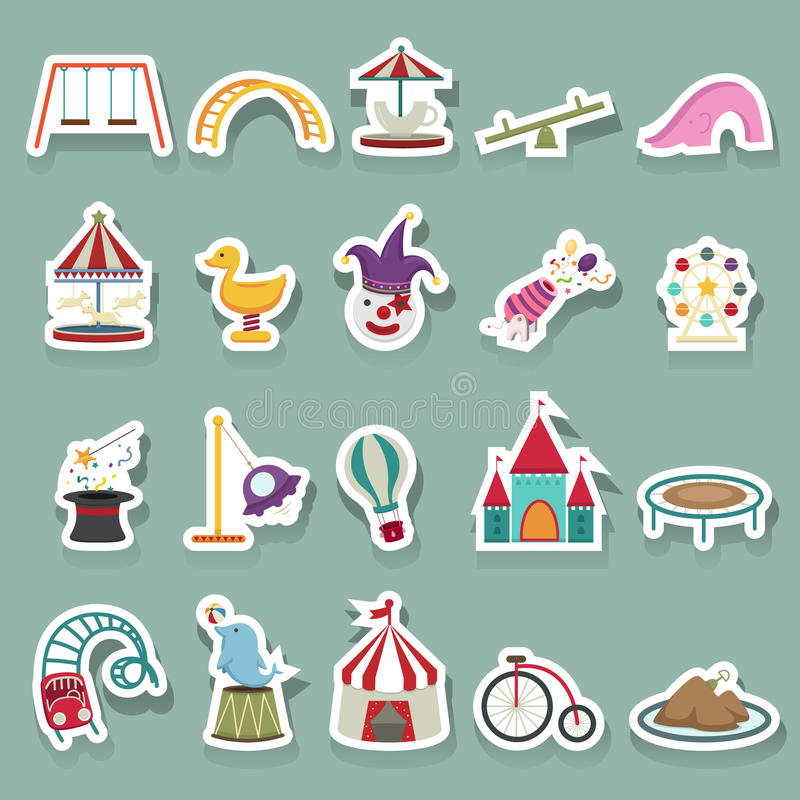 Amusement Park icons set vector illustration