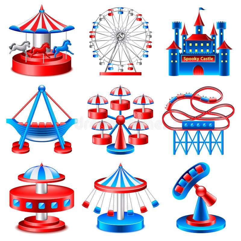 Amusement park icons vector set royalty free illustration