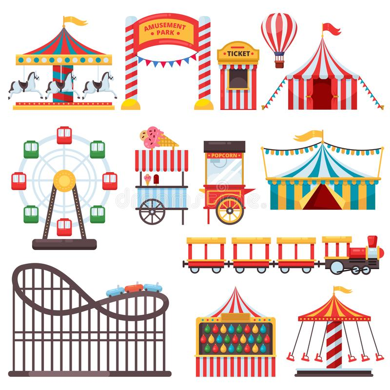 Amusement park isolated icons. Vector flat illustration of circus tent, carousel, ferris wheel. Carnival design elements royalty free illustration