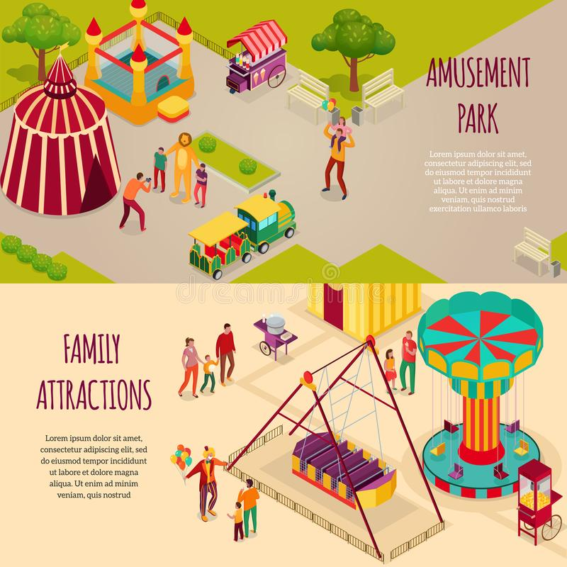 Amusement Park Isometric Banners stock illustration