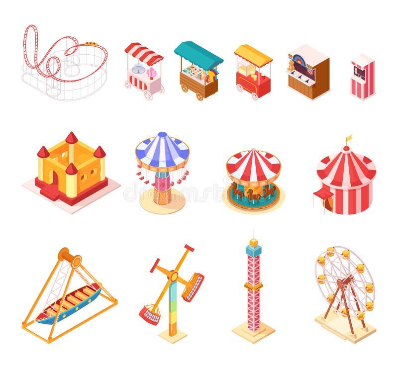 Amusement Park Isometric Cartoon Icons Set vector illustration