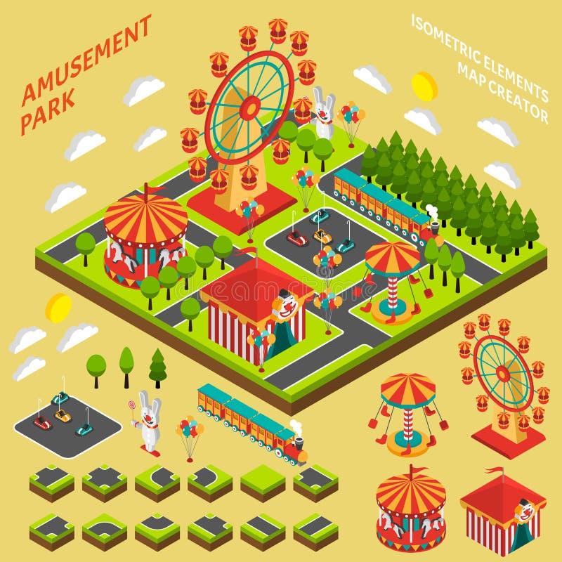Amusement park isometric map creator composition stock for Map designer free