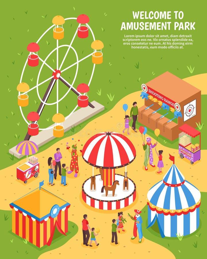 Amusement Park Isometric Poster stock illustration