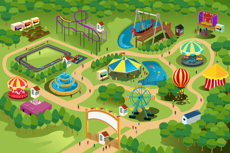 Amusement park map vector illustration