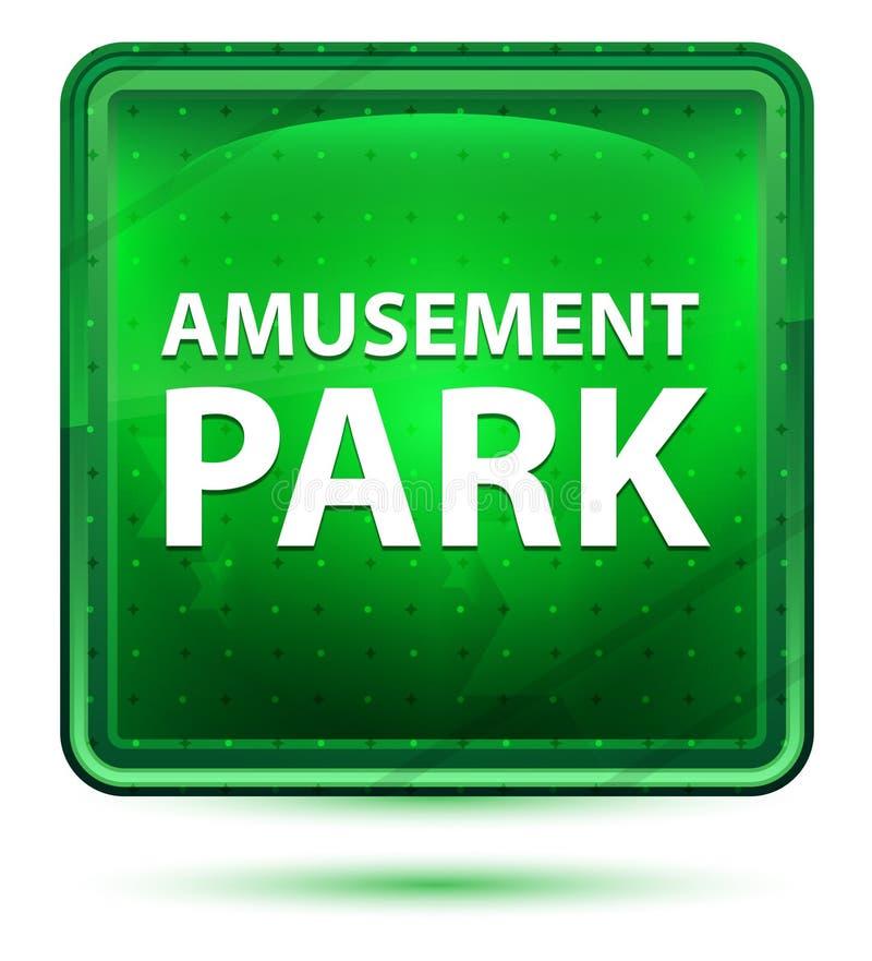 Amusement Park Neon Light Green Square Button vector illustration