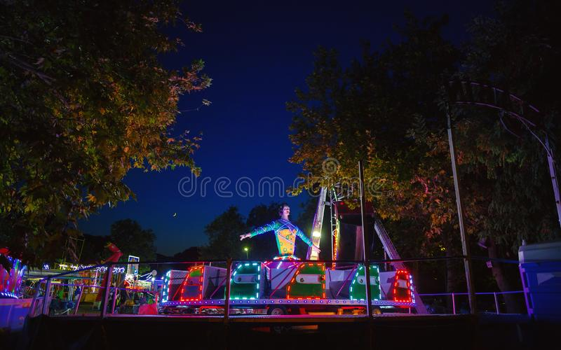 Amusement Park by Night stock images