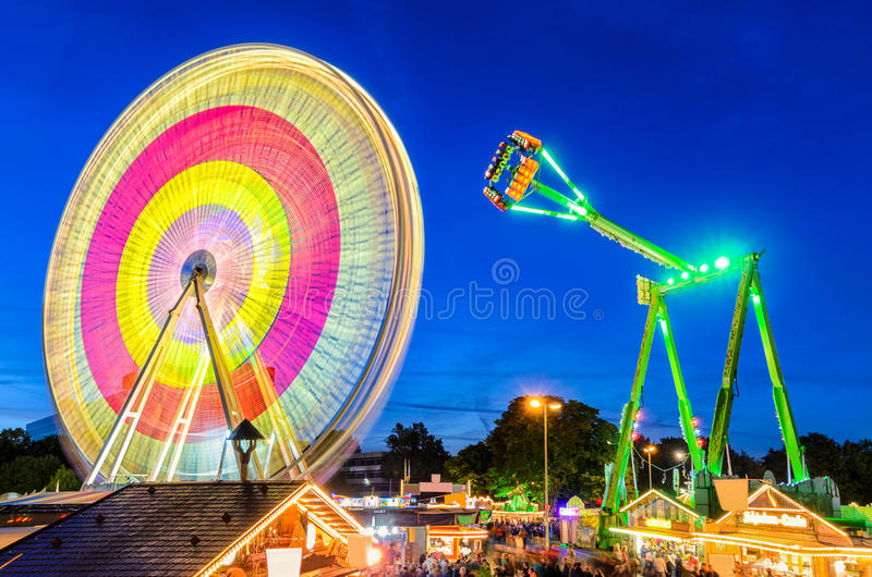Amusement park at night in Hannover, Germany stock photography