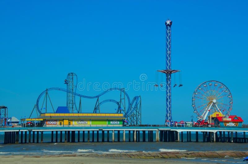 Amusement park pier at Galveston, Texas, USA. Gulf of Mexico Ocean beach stock photo