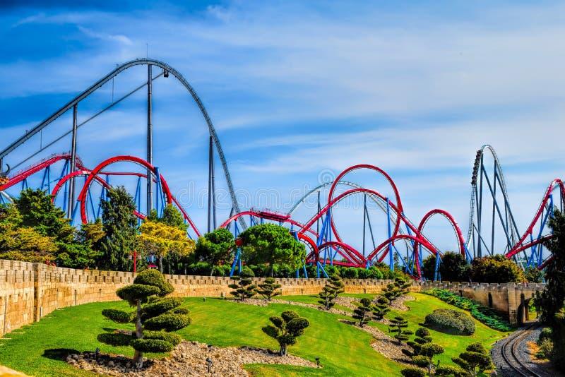 Amusement park port aventura roller coaster stock photo - Port aventura plan ...