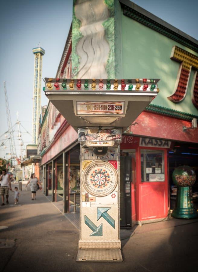 Amusement park, punching machine royalty free stock images
