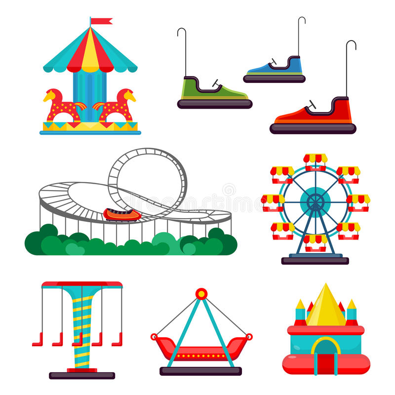 Free Amusement Park Ride. Set Of Attractions. Vector Royalty Free Stock Photo - 81075315