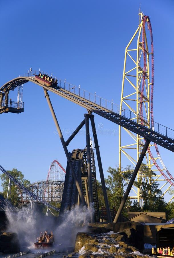 Amusement park rides stock photography
