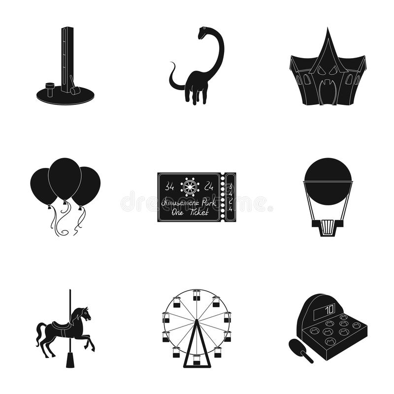 The amusement Park rides. The attributes of a recreational Park, panic room, cotton candy.Amusement Park icon in set stock illustration