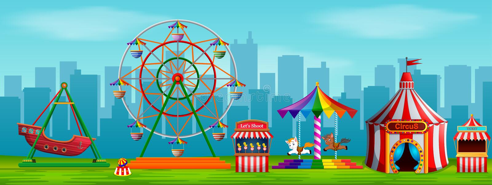 Amusement park scene at daytime with city background. Illustration of Amusement park scene at daytime with city background royalty free illustration