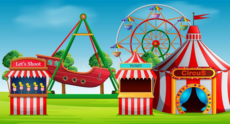 Amusement park scene at daytime. Illustration of Amusement park scene at daytime vector illustration