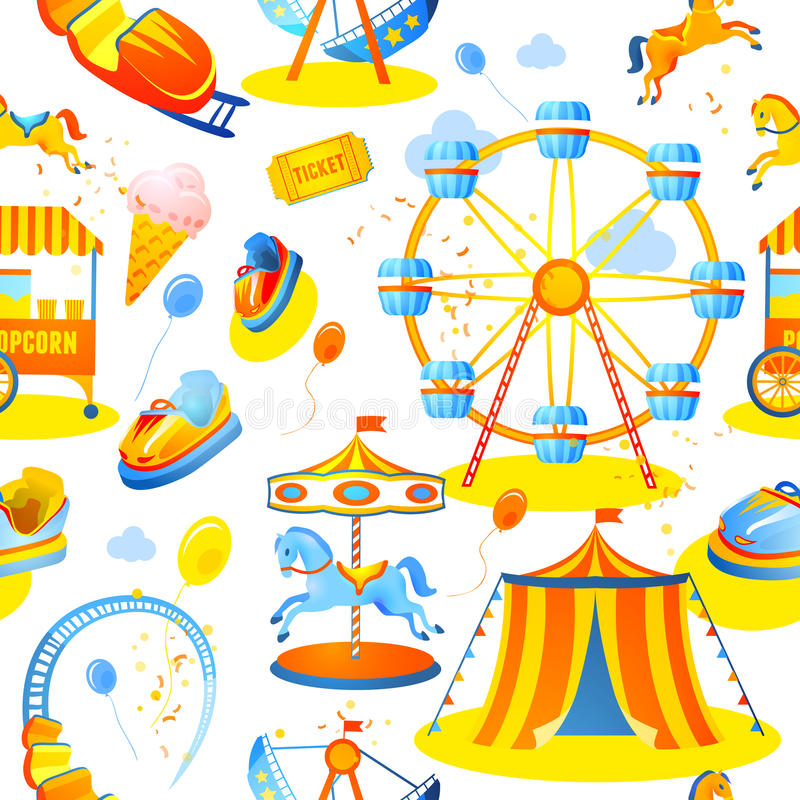Free Amusement Park Seamless Pattern Stock Image - 40411381
