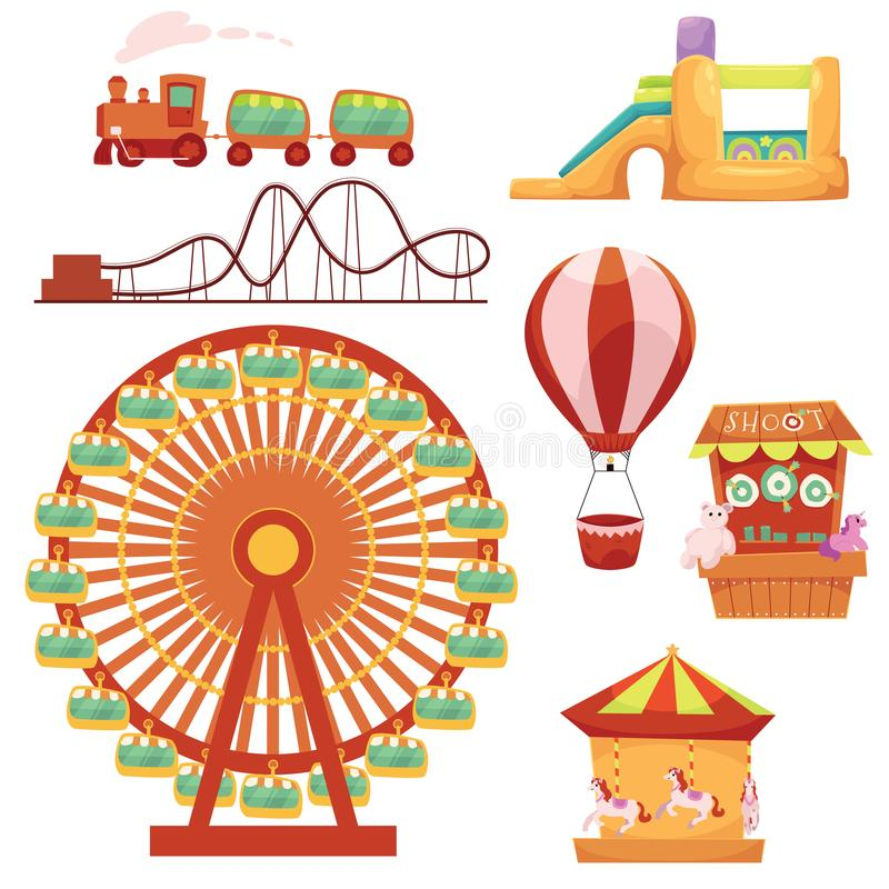 Amusement park set, cartoon vector illustration stock illustration