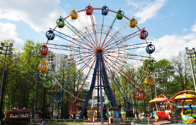 Amusement Park in the spring stock photography