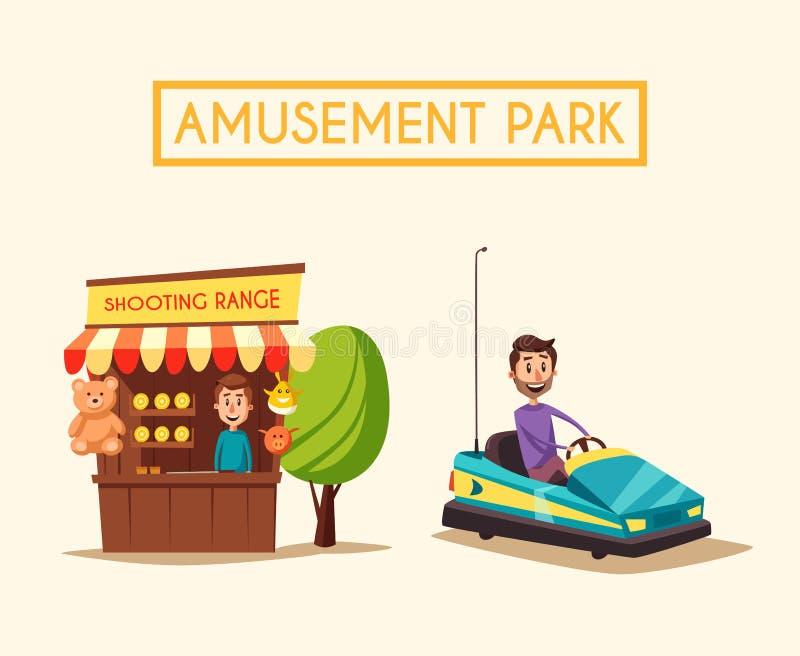 Amusement park theme. Cartoon vector illustration royalty free illustration