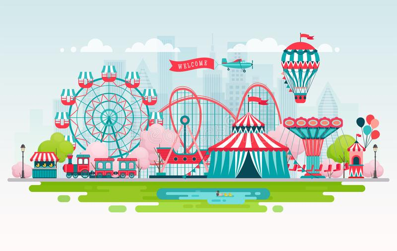 Amusement park, urban landscape with carousels, roller coaster and air balloon. Circus and Carnival theme stock illustration