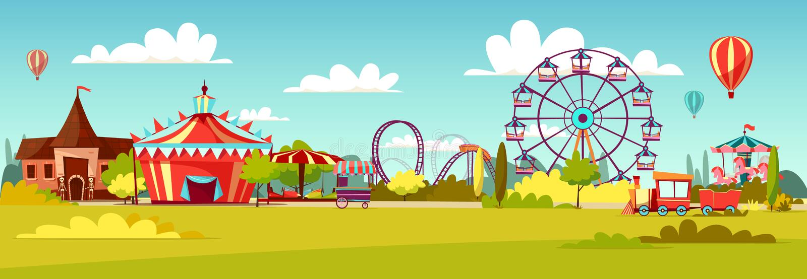 Amusement park vector cartoon illustration of attractions coaster rides, circus merry-go-round carousels and observation. Amusement park vector illustration of vector illustration