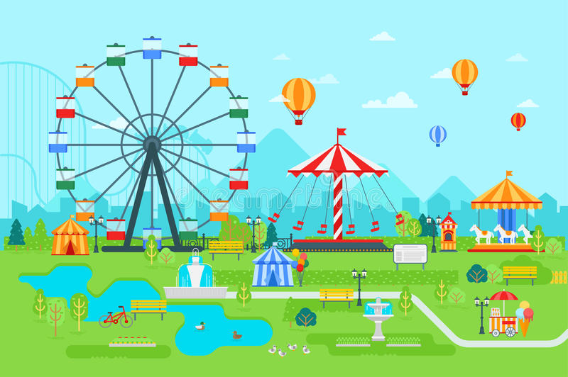 Amusement park vector flat illustration at daytime with ferris wheel, circus, carousel, attractions, landscape and city. Background vector illustration