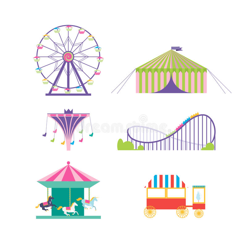 Amusement park vector set. Ferris wheel, roller coaster, popcorn. Carousel, carousel with horses royalty free illustration