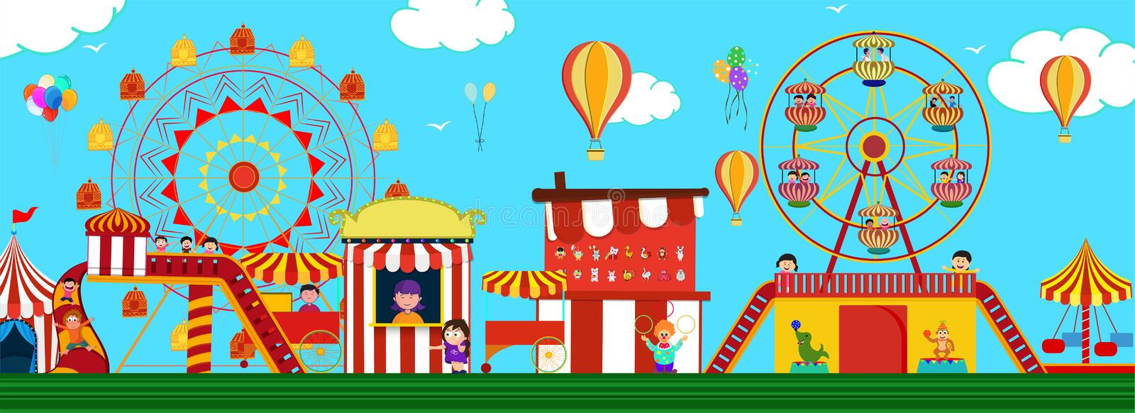 Amusement park view with carousels, roller coaster and hot air balloons for Fun Fair Carnival concept. stock illustration