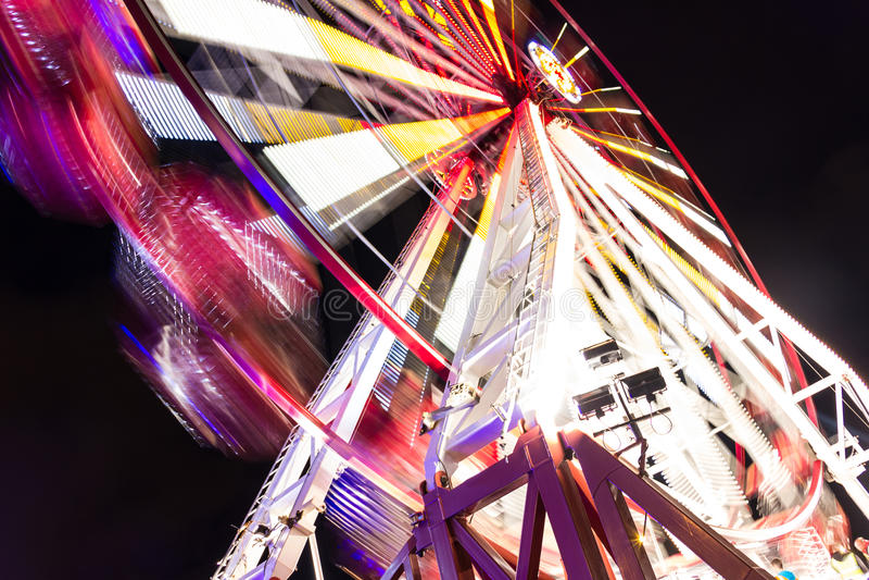 Amusement park. Wheel. At night. Dublin stock photography