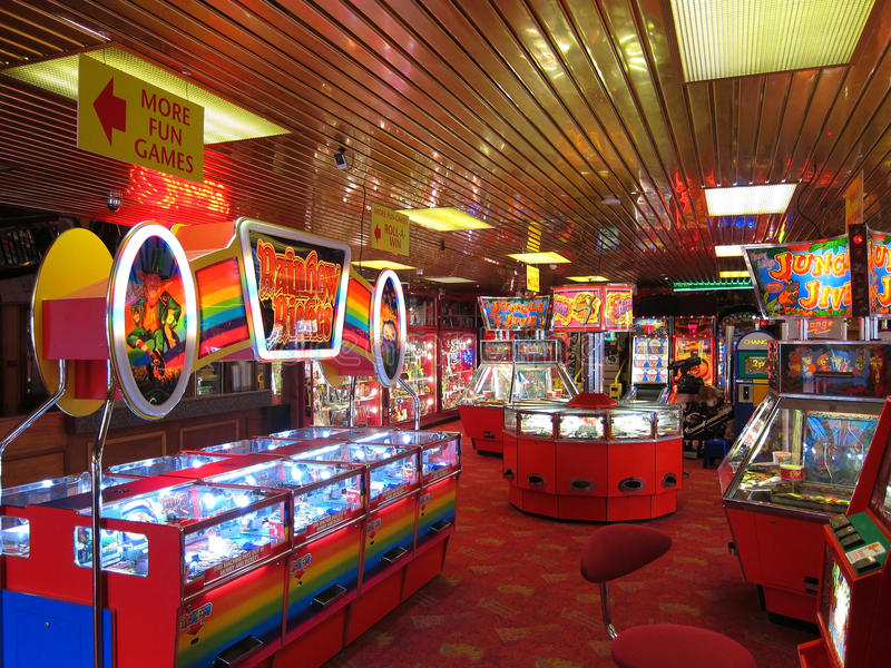 Slot machines in an arcade. royalty free stock photo