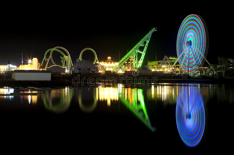 Amusement Pier reflection stock photography
